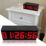 23,5cm Trois Dimension Pendule murale électronique Moderne Grand Chiffre Digitale 3D Horloge murale à Rouge LED Horloge de bureau/Salon avec Alarme clock,Calendrier,Thermomètre avec EU Plug (Rouge) de la marque T Tocas image 1 produit
