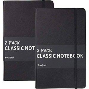 Carnet Ligné/Ruled Notebook - Lemome A5 Classique Cahier d'écriture Premium (125g/m²) Faux Cuir Noir, Couverture Rigide, Grand, Lined Journal, (5 x 8.25 inch),Lot de 2 de la marque Lemome image 0 produit