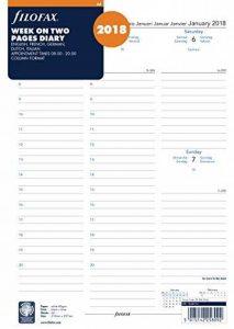 Filofax 1868714 Recharge pour organiseur format A4 Présentation 1 semaine sur 2 pages Année civile 2018 de la marque Filofax image 0 produit