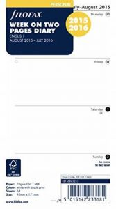 Filofax Semaine sur 2pages Agenda Mid Année (Août 2015–Juillet 2016) de la marque Filofax image 0 produit