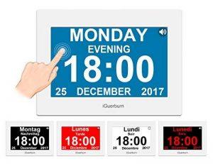 """iGuerburn Horloge calendrier numérique avec 8"""" écran tactile, réveil parlant électroniques avec date et heure pour Alzheimer, démence, personnes âgées/8 alarme (blanc) de la marque image 0 produit"""