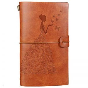 Journal en cuir rechargeable Travellers porte-documents, porte-bloc, bloc-notes, agenda journalier avec 18 emplacements pour cartes et 1 poche zippée en PVC pour hommes femmes étudiants marron de la marque OSUNP image 0 produit