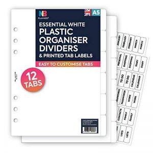 Nbplanner® 12intercalaires en plastique et Effacer Tab étiquettes Filofax Compatible anglais a5 de la marque NBplanner image 0 produit