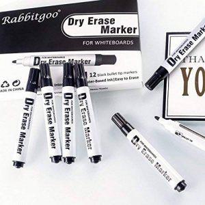 Rabbitgoo Marqueur Noir pour Tableau Blanc Feutre Whiteborad Marker Effaçables à Sec Pointe Ogive Séchage Rapide -Parfait sur Les Surfaces Lisse Boîte DE 12 de la marque Rabbitgoo image 0 produit