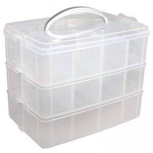 """Rayher boite de rangement avec poignée de transport €"""" boite de rangement à 13 compartiments pour ranger vos affaires de scrapbooking & de bricolage €"""" box de rangement en plastique 23,1 x 15,6 x 18,5cm €"""" transparent de la image 0 produit"""