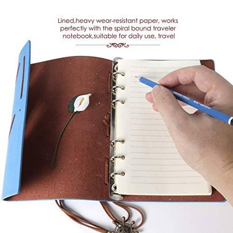 320/pages Format A6 A 6 trous Pour carnet de voyage journal intime - Papier lign/é agenda Pour carnet rechargeable planificateur 160/feuilles Teenitor 17/x 10,5/cm