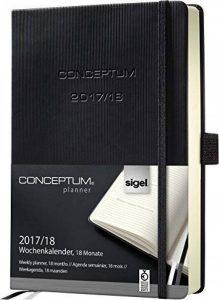 Sigel C1801 Agenda Semainier 18 mois 2017/2018 CONCEPTUM, couverture rigide, 14,8 x 21,3 cm, noir de la marque Sigel image 0 produit