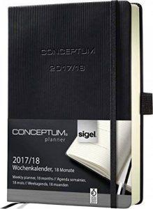Sigel C1802 Agenda Semainier 18 mois 2017/2018 CONCEPTUM, couverture rigide, 10,8 x 15,1 cm, noir de la marque Sigel image 0 produit