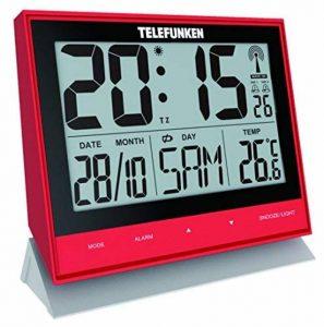 Telefunken Fux-500(R) XXL Réveil Radio LCD/horloge murale numérique, connecteur USB pour alimentation ext., affichage de la température et calendrier, capteur de boutons sur le devant pour faciliter la navigation (Rouge) de la marque Telefunken image 0 produit