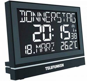 Telefunken Radioréveil / Horloge murale numérique FUX-HRB-700(B) avec écran LCD XXL, parfait pour les personnes âgées,avec écran négatif haute résolution, port USB pour alimentation externe,8 alarmes programmes, par exemple, pour la prise de médicaments image 0 produit
