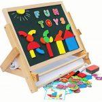 Toys of Wood Oxford Chevalet enfant en bois - Tableau noir pour enfants avec alphabet magnétique et chiffres magnétiques - Apprendre à écrire et dessiner avec un rouleau de papier à dessin de la marque Toys of Wood Oxford image 2 produit