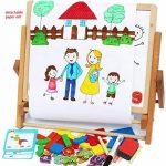 Toys of Wood Oxford Chevalet enfant en bois - Tableau noir pour enfants avec alphabet magnétique et chiffres magnétiques - Apprendre à écrire et dessiner avec un rouleau de papier à dessin de la marque Toys of Wood Oxford image 3 produit