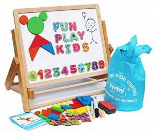 Toys of Wood Oxford Chevalet enfant en bois - Tableau noir pour enfants avec alphabet magnétique et chiffres magnétiques - Apprendre à écrire et dessiner avec un rouleau de papier à dessin de la marque Toys of Wood Oxford image 0 produit