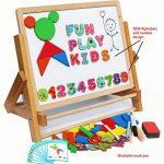 Toys of Wood Oxford Chevalet enfant en bois - Tableau noir pour enfants avec alphabet magnétique et chiffres magnétiques - Apprendre à écrire et dessiner avec un rouleau de papier à dessin de la marque Toys of Wood Oxford image 1 produit
